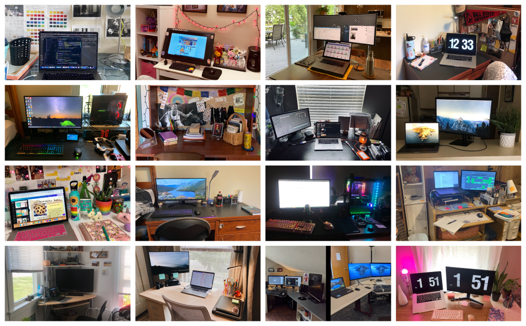 Whether it's minimalist or maximalist, Digital Corps students and staff each have a unique remote workspace.